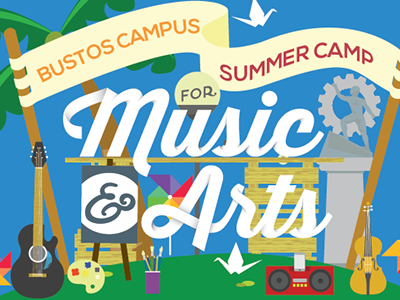 Music and Arts Camp summer music camp arts camp vector poster illustration