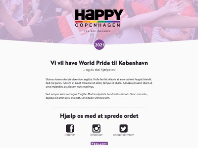 Be Happy landing pages events lgbtq identity web