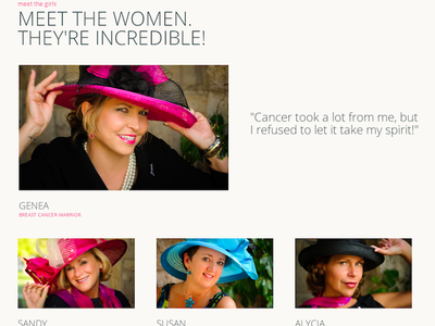 Incredible, Inspirational Women breast cancer nonprofit html layout typography photography quote