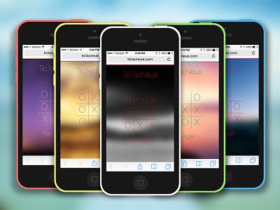 TicTacNeue ios 7 game photoshop iphone 5c web app
