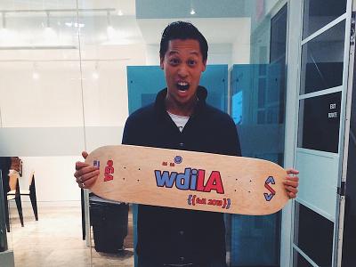 wdiLA Skateboard + stickers wdi printed logo