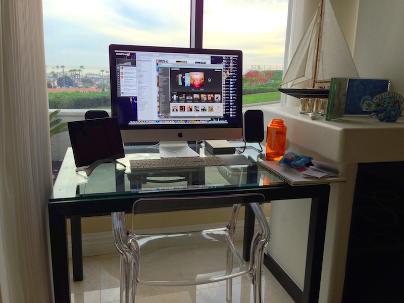 Home Workspace office desk workspace imac ipad nalgene audyssey