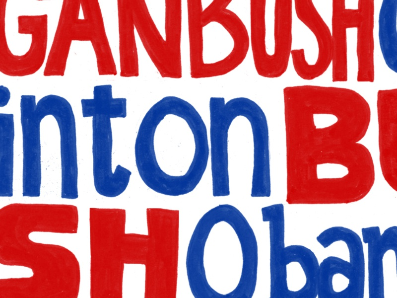Presidents of my lifetime red white and blue handlettering lettering america presidents politics