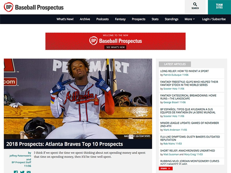 Baseball Prospectus mlb relaunch web design web development baseball