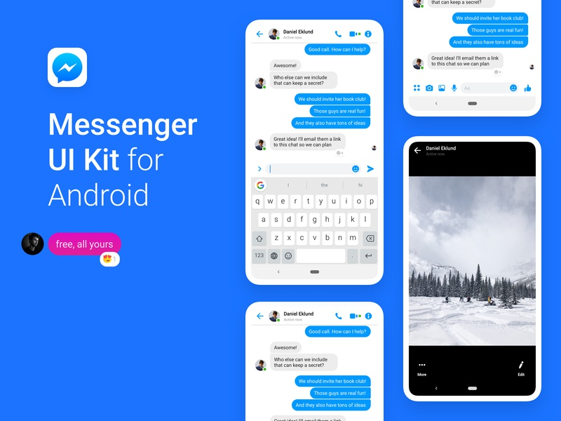 Facebook Messenger UI Kit for Android — Free (Version 2019)