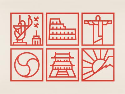World Cities kingkong icon icondesign icon set geometric design logo modernist logo branding logogrid logotype modernism swiss style