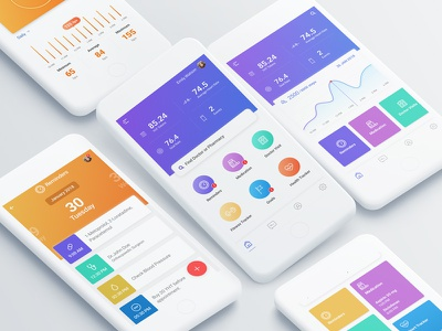 Healthcare Application Dashboard designs! ux ui mobile app with gradient gradient minimal design clean ui mobile ui sketch healthcare health dashboard ui design