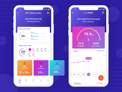 Fitness Tracker mobile ui mobile design flat colors ux design iphone x ui inspiration flat ui fitness tracker health tracker ux ui design ui