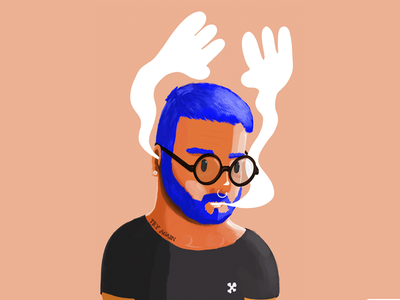 Hands Up characters cool portrait procreate digital illustration beard illustration