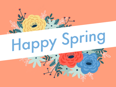 Happy Spring Illustration procreate digital art spring flowers floral card illustration