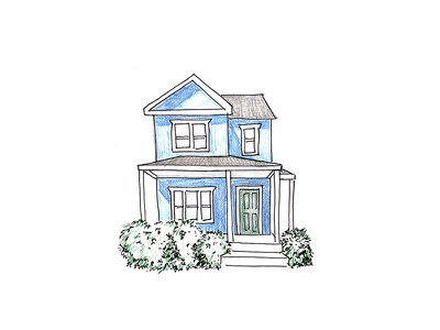 Sketch of My Future House blue porch home drawing sketch house