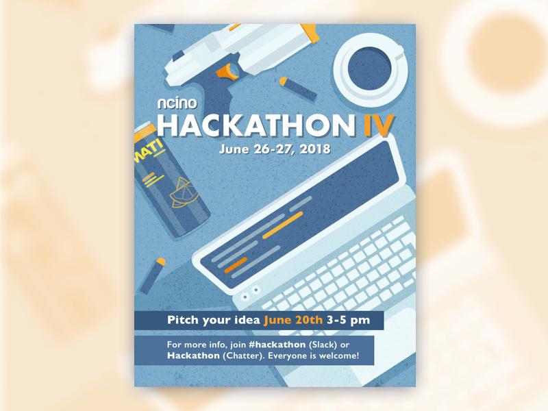 Hackathon Poster developers ncino orange blue coffee computer laptop digital illustration design poster hackathon