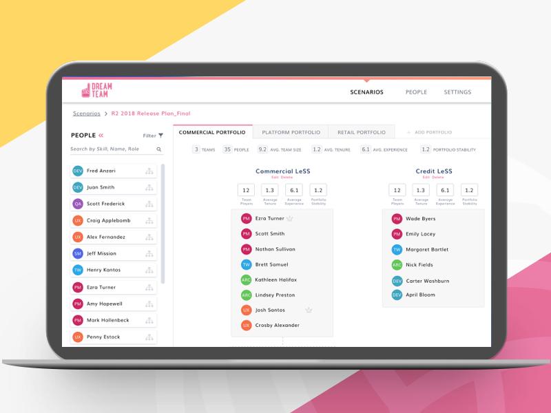 Dream Team Hackathon Concept pink assignee people roster concept ui hackathon team