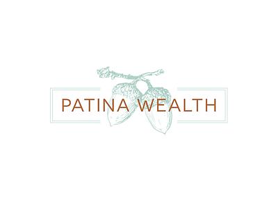 Acorn Drawing Financial Logo Concepts branding brand wealth patina copper green design logo drawing acorn