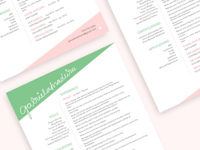 Resume Design typography lettering resume design green pink calligraphy layout design print resume