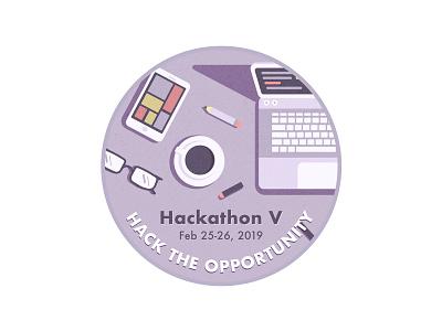 Hackathon Design badge logo lilac illustration glasses coffee laptop hackathon badge circle sticker design purple