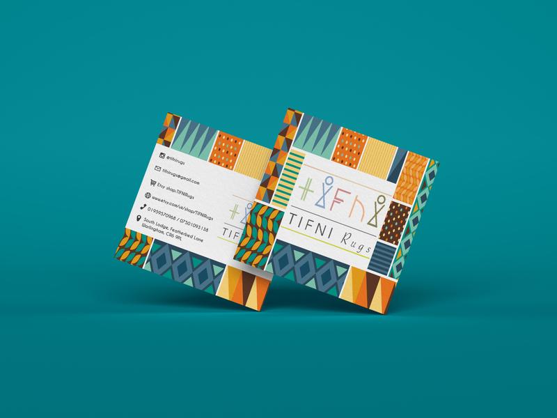 Tifni Rugs business card typography logo flat branding vector illustration design