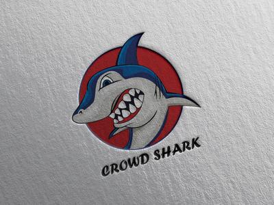 Crowd Shark branding vector logo typography illustration design