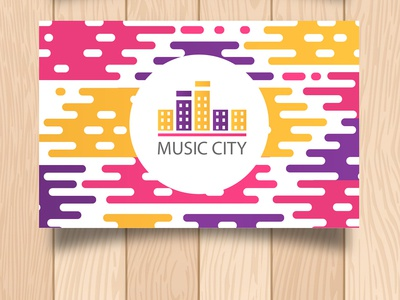 Music cit flat vector logo typography branding design illustration