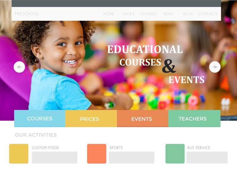 Pre School Website website flat vector typography branding design illustration website design website concept