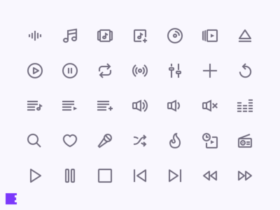 Let The Music Play shuffle radio playlist volume pause player play music freebie icon set icons evericons