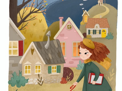 Walking the dog in the autumn illustration. kids book fall autumn kids childrens book