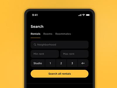 Start-a-search Exploration dark dark theme dark app dark ui filter search picker dark mode app ux ui real estate mobile ios