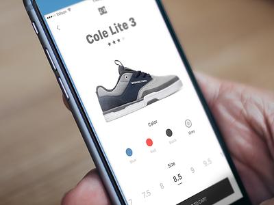 DC shoes app concept interface ux ui list product ios shoes dc ecommerce mobile app