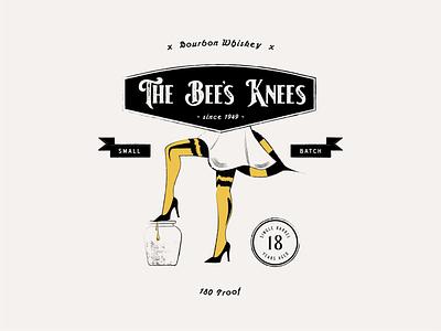 The Bee's Knees alcohol bee bourbon whiskey badge vector logo brand identity flat minimal branding design