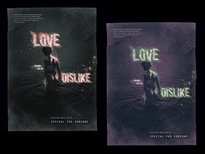 Love—Dislike advertising poster graphic adobe art typography concept digital photoshop design