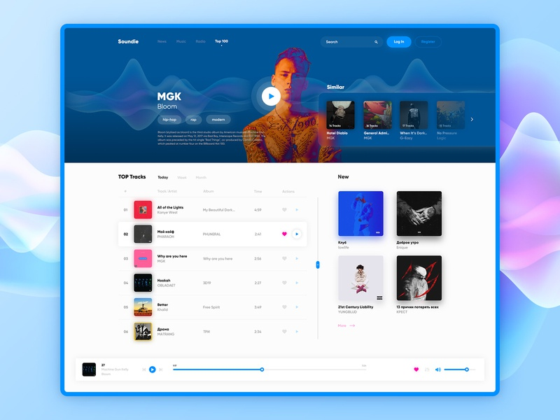Music Player Concept music art design app play adobe photoshop design khalid chart sound music app ux kanye mgk concept player music ui