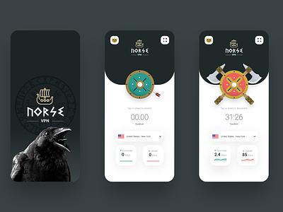 NorseVPN ⚔️ iOS App illustration norse viking ui mobile app proxy vpn
