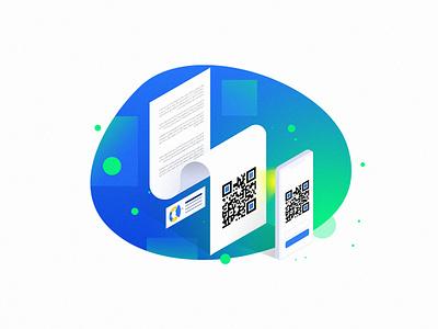 Jibit illustration - QR Scan icon design vector clean iran app persian website visual ui 3d illustration isometric