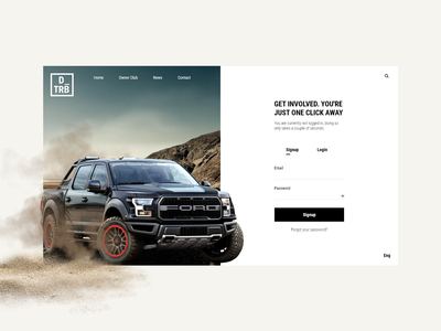 Daily UI 001 - Signup adobe xd clean offroad f150 ford drivetribe signup dailyui