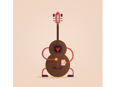 Guitar concept guitar art character digital vector illustration