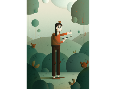 Artist character design flat character forest character flat illustration digital flat art illustration
