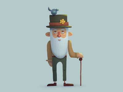 Old man concept bird man character design flat illustration flat character flat character art illustration