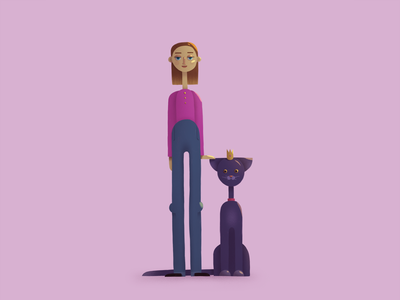 Woman with a cat cat woman illustration concept character design flat illustration flat character digital art illustration flat character