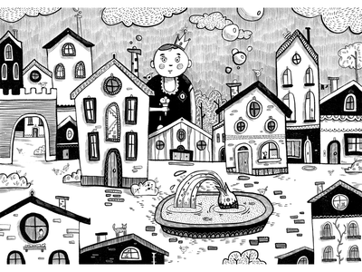 City character 2d art 2d digital city illustration city procreate monochrome blackandwhite flat flat illustration art illustration