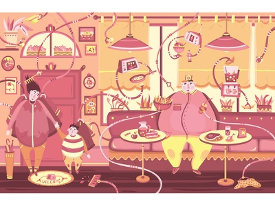 Lazy cafe vector art illustration