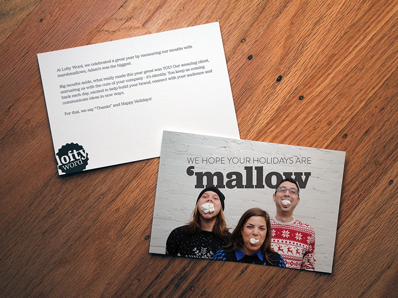 Lofty word christmas card preview