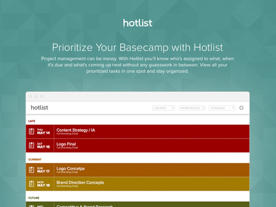 Hotlist For Basecamp management projects beta list basecamp ux ui application app branding