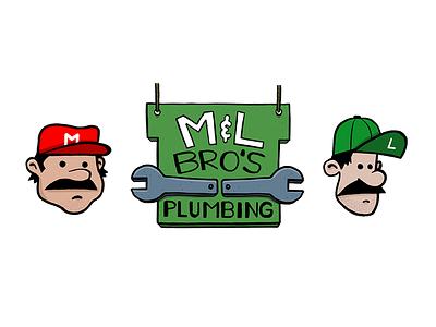 M&L Bros Plumbing procreate plumbing drawing luigi mario ipad pro illustration