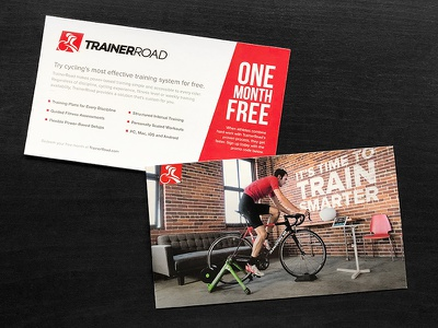 One Free Month print photography postcard indoors training cycling branding