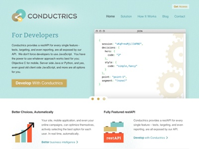 Conductrics Responsive Launch branding html responsive css website ui ux illustration simple