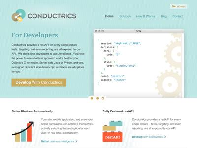 Conductrics Responsive Launch branding html responsive css website ui ux illustration simple