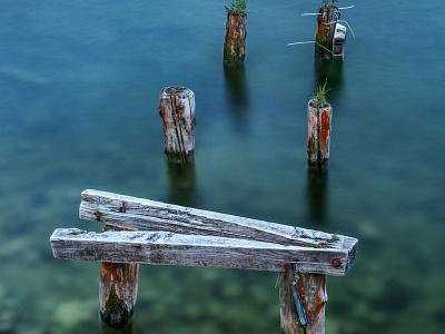 Broken-down Pier In Shallow Water creative commons photocrops image photo austria water pier broken ruin
