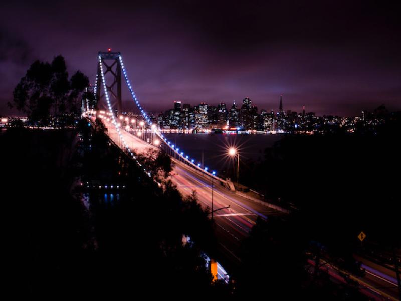 Bay Bridge Panorama creative commons photocrops photography photo image cmyk nighttime oakland panorama bridge san francisco bay bridge