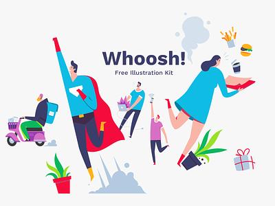 Whoosh! Illustration Kit ui design vector illustration freebie vector sketch illustration