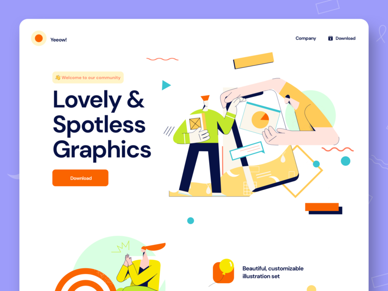 Yeeow! Free illustrations vector art vector mock-up freebie free branding logo design illustration